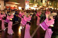 編み笠を目深にかぶった踊り手が、優雅に舞を披露する「おわら風の盆」=2015年9月1日、富山市八尾町、豊間根功智撮影
