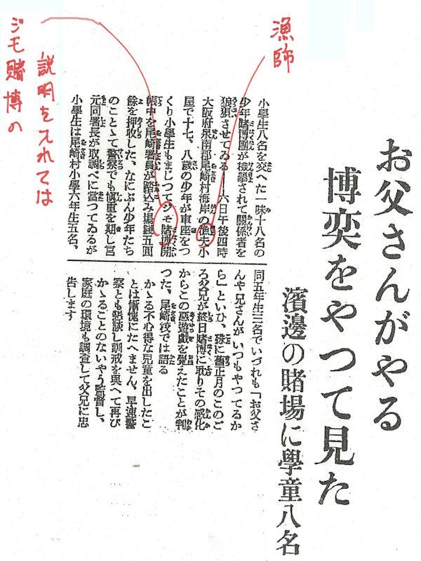 1935(昭和10)年2月7日付 大阪朝日 朝刊11面。主な直しだけ朱を書き入れています。現在の朝日新聞の表記基準で認めていない漢字の音訓や、当時は入れていなかった句点を入れる等については、原則として記入を省いています。記事を文字起こしした【当時の記事】が【解説】の後ろにあります