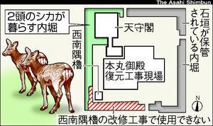図:名古屋城のシカ生息エリア