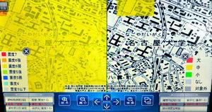 写真:左側は南海トラフ巨大地震で想定される震度分布図(いずれも6弱)。右側は液状化の危険度。一部だけ黄色くなり、液状化の可能性が高くなっている