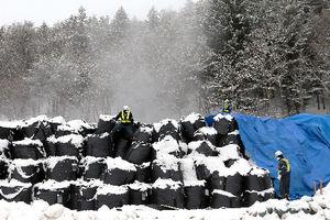 写真:除去した土や枝葉を保管する仮置き場は雪に覆われ、袋から湯気が上がっていた=24日午前8時50分、福島県田村市、金子淳撮影