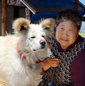 写真:ほっそりした「わさお」と飼い主の菊谷さん=青森県鰺ケ沢町南浮田町