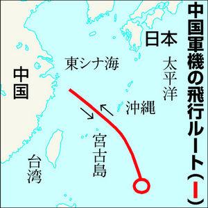 図:中国軍機の飛行ルート