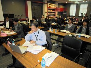 写真:日中のメディアの問題を議論する「清華東大長城フォーラム」=13日、北京の清華大