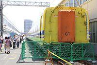 JR東海浜松工場のドクターイエロー=2015年7月25日、浜松市中区のJR東海浜松工場、安冨良弘撮影