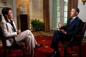 写真:9日、米ABCテレビの番組でインタビューを受けるオバマ米大統領=ホワイトハウス提供、AP