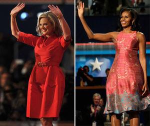 写真:【左】真っ赤なワンピース姿で演説し、支援者の声援に応えるアン・ロムニー夫人=AFP時事、【右】バラ色のノースリーブのワンピース姿で演説し、聴衆の声援に応えるミシェル・オバマ夫人=AP