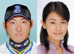 写真:横浜の内川聖一選手(左)、フジテレビのアナウンサー長野翼さん