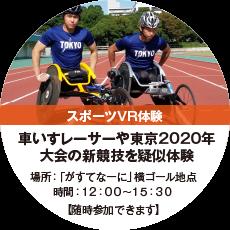 スポーツVR体験 車椅子レーサーや東京2020年大会の新競技を疑似体験 場所:「がすてなーに」横ゴール地点 時間:12:50~15:30