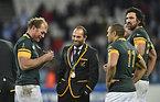 銅メダルを受け取った南アフリカの(左から)バーガー、デュプレア、ハバナ、マットフィールド=ロイター