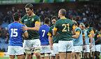 試合後、握手を交わす両チームの選手たち=AP