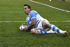 この試合、チーム3つ目となるトライを決めたアルゼンチンのイモフ=ロイター