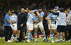 アイルランドに勝利し、喜ぶアルゼンチンの選手たち=AP