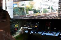 山手線の新型車両E235系の運転台=30日午後、東京都品川区、林敏行撮影