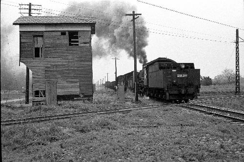 写真:あおなみ線の前身だった国鉄の貨物線を走るSL(D50形)。現在の荒子駅付近で市電と交差していた=1963年、名古屋市中川区、名古屋レール・アーカイブスの堀幸夫さん提供