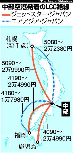 図:中部空港発着のLCC路線