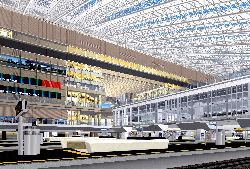 写真:JR大阪駅構内の完成予想図。ホームから大屋根までの大空間が体感できる=JR西日本提供