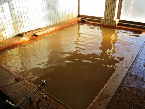 写真:濃い褐色で塩味の強い温泉。二酸化炭素を沢山含有しているとか