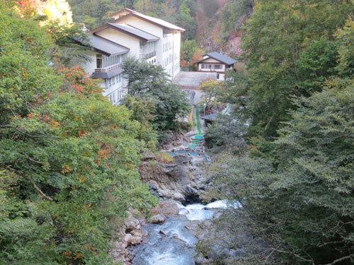 写真:橋から女夫淵温泉の露天風呂が小さく見える(中央)。遠くて入っている人の性別は分からない