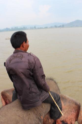 写真:ボロウの背中からラック湖を一望。少数民族のイェンさんは、後ろ向きに乗ったり煙草を吸ったり。ゆとりがあります