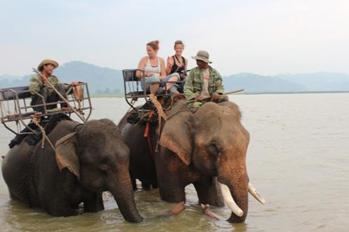 写真:ゾウに乗ってラック湖を渡るエレファントライディングは、バンメトート観光の目玉。欧米からの旅行者に人気です