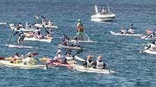 真っ青な海、214艇競った 奄美シーカヤックマラソン