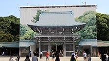 「見えない門」巨大写真で再現 修復工事中の明治神宮