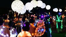 七夕ゆかりの平城宮跡、まるで星空に LEDで彩り