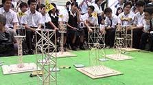 爪ようじタワー、高校生が耐震性競う 熊本でコンテスト