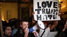 「お前の居場所はない」反トランプ氏デモ、全米各地で