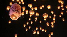 台湾各地でランタン祭り 「天灯」1200個、夜空彩る
