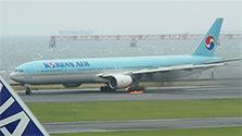 羽田空港の大韓航空機、エンジン出火 319人脱出