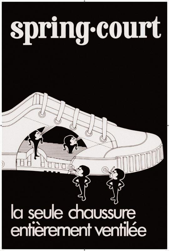 商品発売当時のポスター広告。キャラクター名などは不明だが、いまも変わらず靴の底で活躍中だ(写真提供=Spring Court)