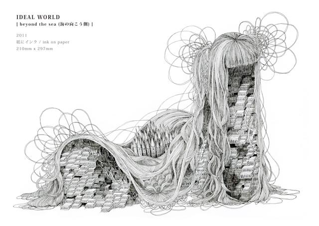 2011年に発表した「IDEAL WORLD」より。街と曲線によって、軟体動物を思わせるような造形を構成。
