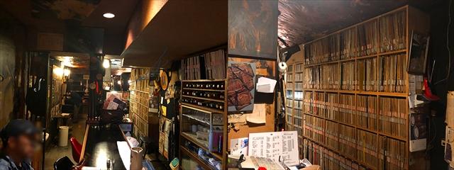 カウンター側はスピーカーから距離があるため話しやすい。壮観のレコード棚も見ることができる