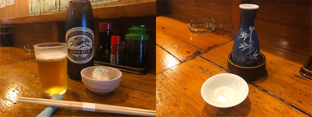 (左)あるとうれしい、苦味がおいしいキリンクラシックラガー(600円)。お通しはしらすおろし。(右)山形の純米辛口の樽酒「樽平」(600円)を燗酒で