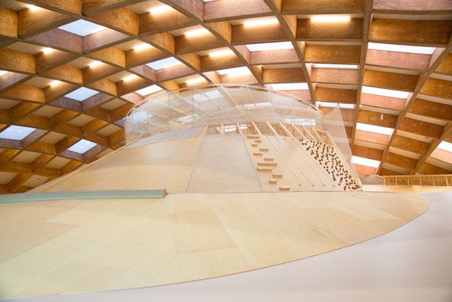 高さ3.5m、長さ45mのワイルドな斜面空間。木造屋根のドームは、県産のスギ・カラマツが使われている ※写真提供・ヤマガタデザイン