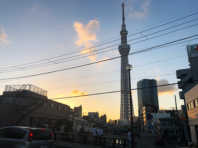 夕方になると見ることができる、夕日に照らされるスカイツリーがかっこよかった。十間橋はそのフォトスポットとしても有名