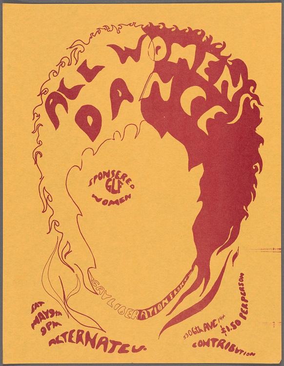 """1970年の女性限定のダンスパーティーの広告/""""All Women's Dance"""" New York: Gay Liberation Front, 1970 / New York Public Library, Manuscripts and Archives Division"""