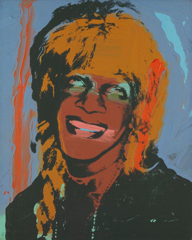 以前までNYのホイットニー美術館で行われていた現代美術家アンディ・ウォーホルの回顧展より、アンディが制作した有名人肖像画シリーズのマーシャ・P・ジョンソン/Andy Warhol, Ladies and Gentlemen (Marsha P. Johnson), 1975. Acrylic and silkscreen ink on linen, 50 × 40 1⁄8 in. (127 × 101.8 cm). Museum Brandhorst, Munich. © 2018 The Andy Warhol Foundation for the Visual Arts, Inc. / Artists Rights Society (ARS), New York