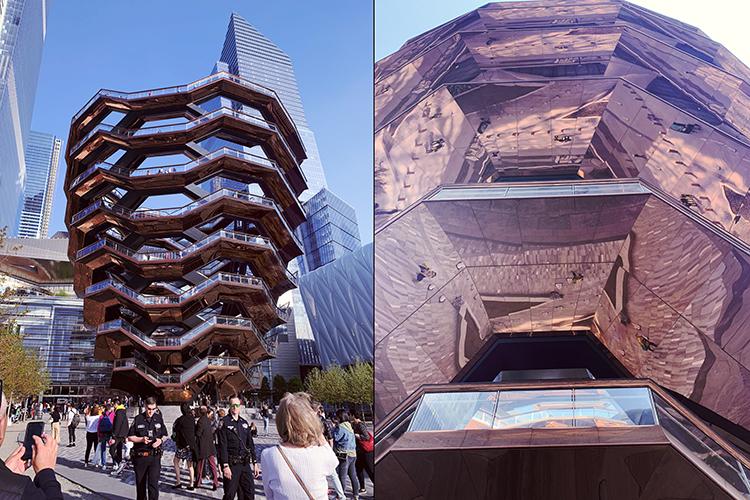 写真左:ザ・ヴァッセルの全体像。右下にザ・シェドが見える 写真右:ザ・ヴァッセルを下から見たところ。階段の裏面にあるのは銅素材で、かなり周りの景色を反射しているのがわかる