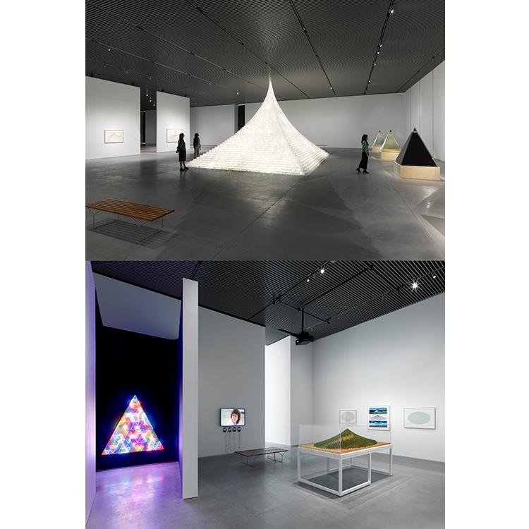 アグネス・ディーンズの回顧展の様子。写真上:Agnes Denes, Installation view of Agnes Denes: Absolutes and Intermediates, October 9, 2019 – March 22, 2020. Photo: Dan Bradica. 写真下:Photo: Emanuel Hahn.