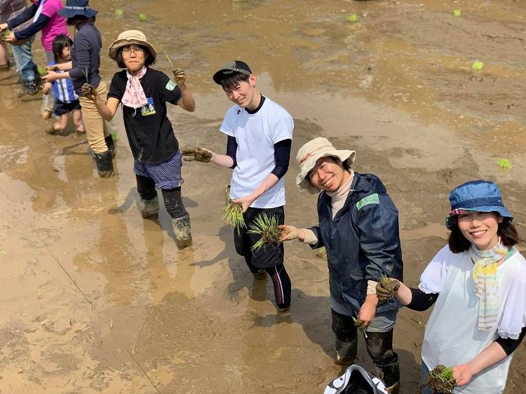 山梨県都留市の田んぼにて。毎年6月上旬の田植えには地元農家さんが「いなフリ」受講生や卒業生を招待してくれるのが恒例になっている=2019年6月、奈良美緒撮影