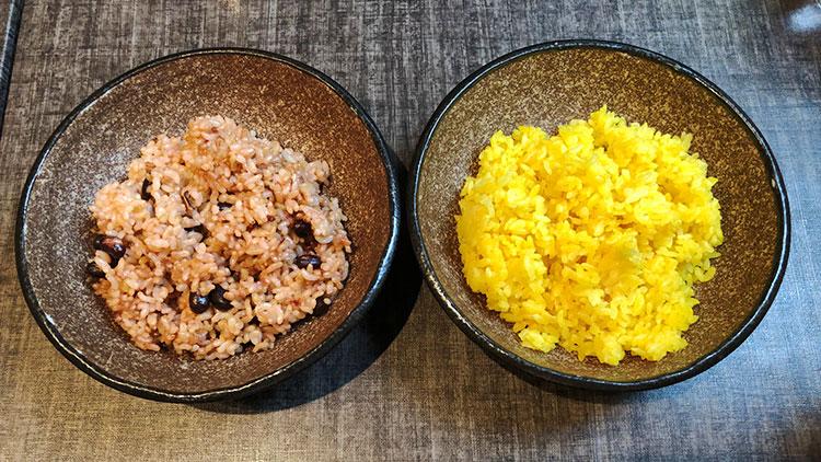 「ゆめぴりか」の寝かせ玄米と「ふっくりんこ」のターメリックライス