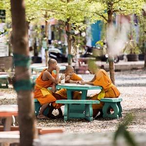 公園で楽しげに過ごすタイの少年僧