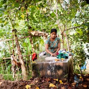 人々の生活が垣間見られるケララの水郷地帯