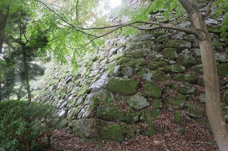 吉川広家が積んだとみられる、二の丸の石垣