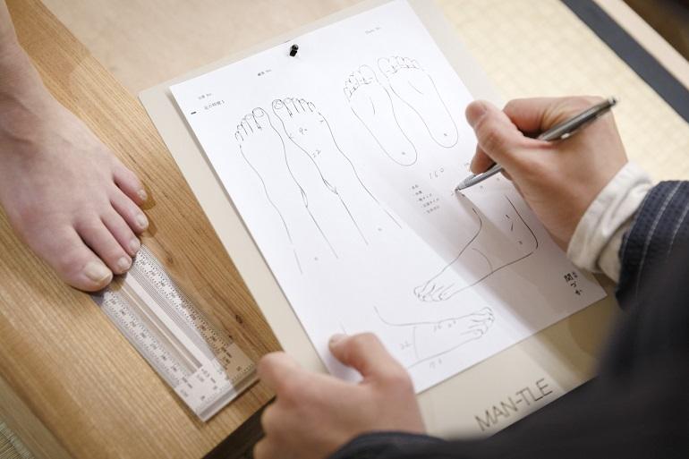 幅や甲高、長さなどを細かく測定し、一人ひとりに合った一足に仕上げる