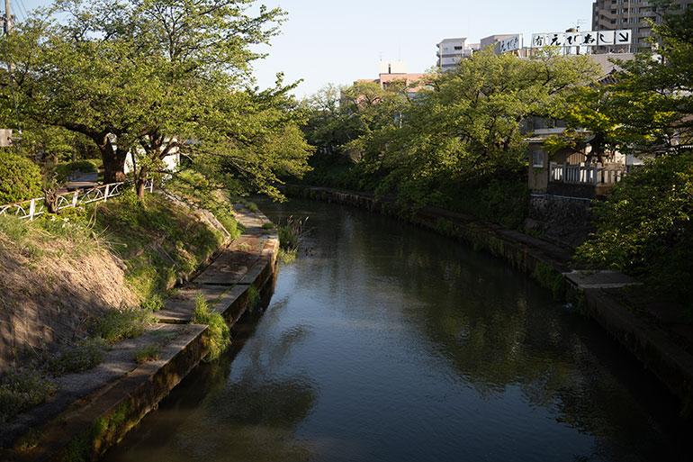 富山市内の川を撮影。青い空と木々の陰影が写り込み、無意識にシャッターを押した瞬間。 スナップというのは、「考えて撮る」「直感で撮る」の両方ができれば後から見返した時にさらに楽しめる