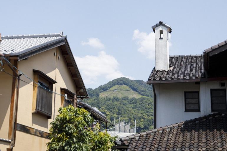 京都市街地から大文字山を望む